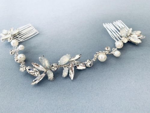 Silver vintage style bridal hair vine-Silver wedding hair accessories